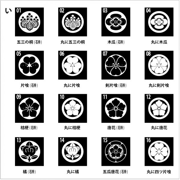 着物用家紋シール 貼り付け紋 貼り紋 貼紋 「い」16種類 (全224種類×2色)|sawalabi