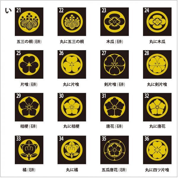 着物用家紋シール 貼り付け紋 貼り紋 貼紋 「い」16種類 (全224種類×2色)|sawalabi|02