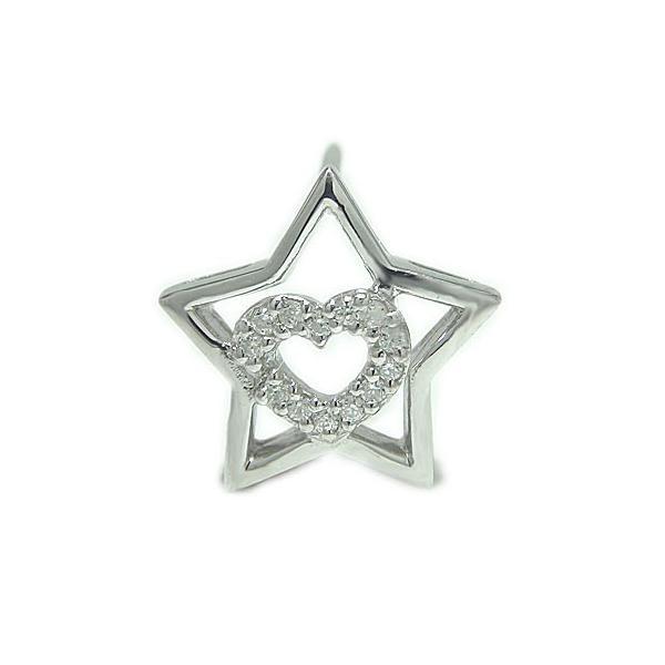 PT900プラチナ ハート 星 スター ダイヤ ラペルピン ピンブローチ