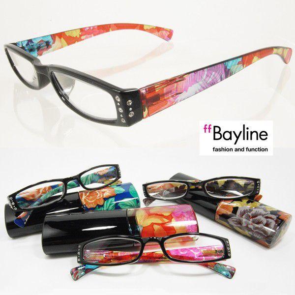 【SALE】老眼鏡 おしゃれ老眼鏡 リーディンググラス シニアグラス Baylineオリジナルリーディンググラスフラワー柄×黒カラーラインストーン