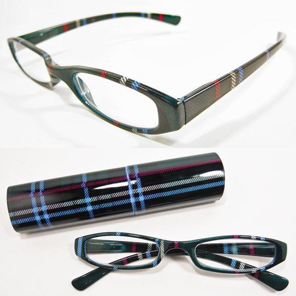 老眼鏡 おしゃれ老眼鏡 シニアグラス めがね メガネ 女性用 男性用 タータンチェック柄マットグリーンプラスチックケース