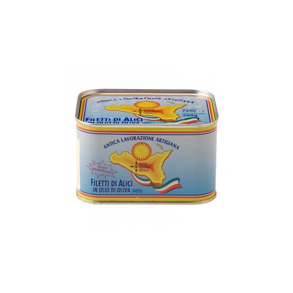 ペッシェアッズッロ アンチョビフィレ オリーブオイル漬け 720g 12缶セット 7126 缶詰・瓶詰 シチリア産のアンチョビのオイル漬け