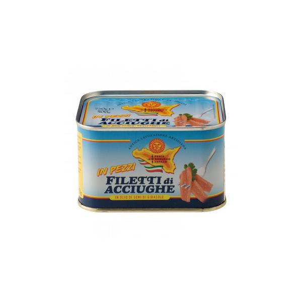 ペッシェアッズッロ ピースアンチョビ ひまわりオイル漬け 720g 12缶セット 7125 缶詰・瓶詰 シチリア産のアンチョビのオイル漬け