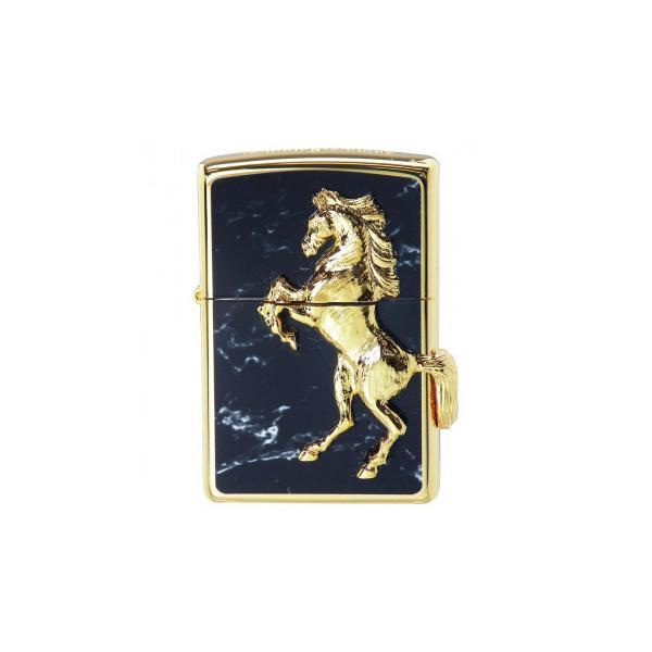 ZIPPO ゴールドプレートウイニングウィニー ブラックマーブル 冠婚葬祭 馬のモチーフがかっこいいZIPPO!