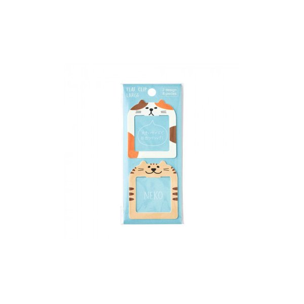 パインブック フラットクリップL インデックスタイプ ねこ(猫) 5セット FC00044 文具 かわいいフラットクリップ