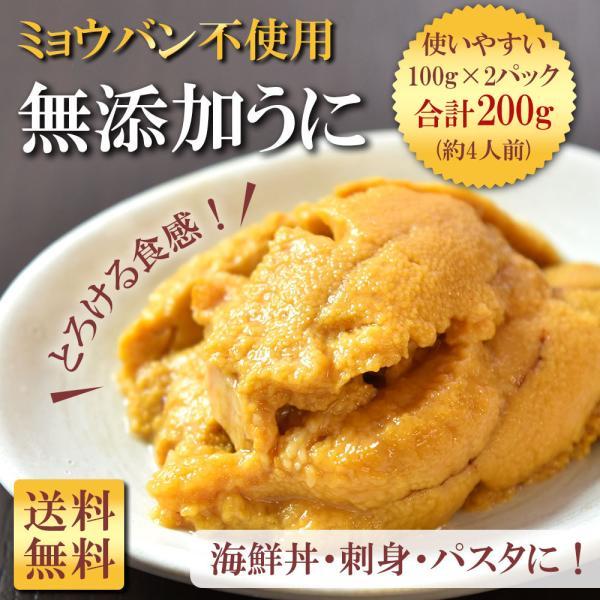 ウニ 北海道 無添加 100g×2パック 4人前 ミョウバン不使用 刺身用 うに 雲丹 海鮮丼 シーフード