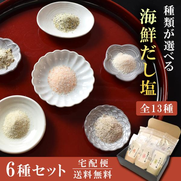 送料無料 海鮮 だし 塩  6袋セット 選べる 9種類 のどぐろ 真鯛 甘海老 しじみ 牡蠣 うに あご かつお 昆布 ギフト お中元 ソルト 減塩