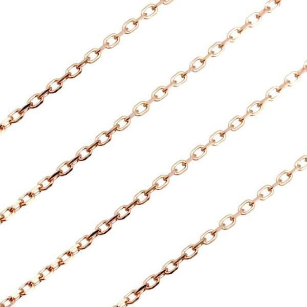 チェーン K10PG(10金ピンク) ピンクゴールドチェーン 4面ダイヤカット アズキチェーン k10 ネックレス あずき 小豆
