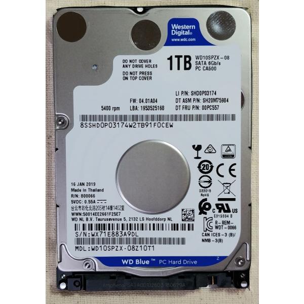 WD 1TB HDD 2.5インチ 7mm WD10SPZX 新品PCからの抜き取り品 5400rpm 128M WESTERN DIGITAL ハードディスク