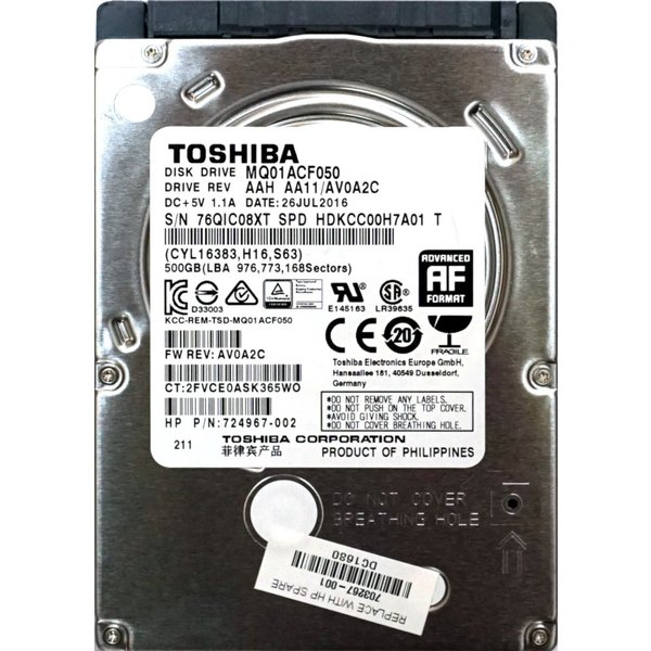 TOSHIBA 500GB 7200rpm HDD 2.5インチ 7mm MQ01ACF050 新品PCからの抜き取り品 東芝 ハードディスク
