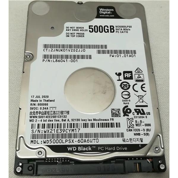 WD 500GB 7200rpm HDD 2.5インチ WD5000LPLX 7mm 新品PCからの抜き取り品 32M WESTERN DIGITAL ハードディスク