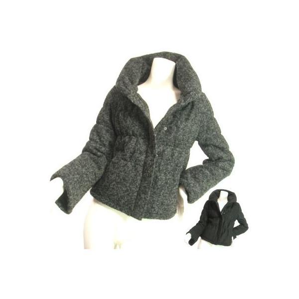 ジャケットブルゾンループツイードヘチマカラー立ち襟りふんわり上品シルエットチャコールグレーブラックSeduce|seduce