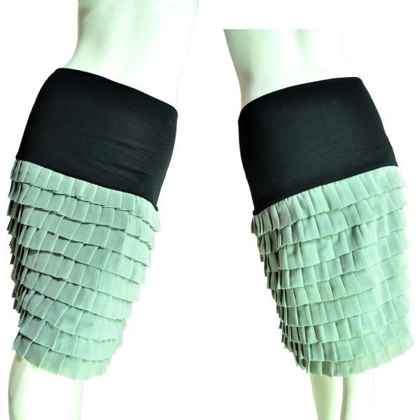 9段ティアードシフォンフリルスカート 上品なシルエットでシック 薄グリーン Seduce|seduce