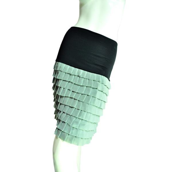 9段ティアードシフォンフリルスカート 上品なシルエットでシック 薄グリーン Seduce|seduce|02