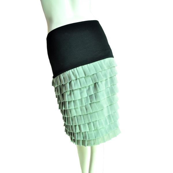 9段ティアードシフォンフリルスカート 上品なシルエットでシック 薄グリーン Seduce|seduce|04