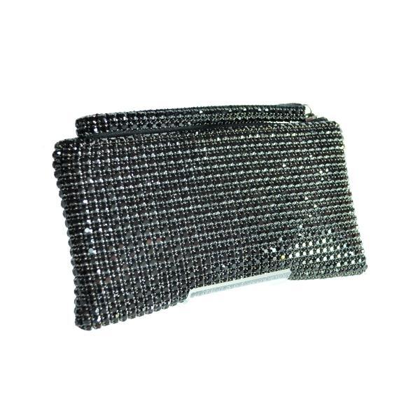 ガラスストーン ハンドストラップ クラッチバッグ パーティー ポーチ 財布 フォーマル ブラック 黒 Seduce|seduce