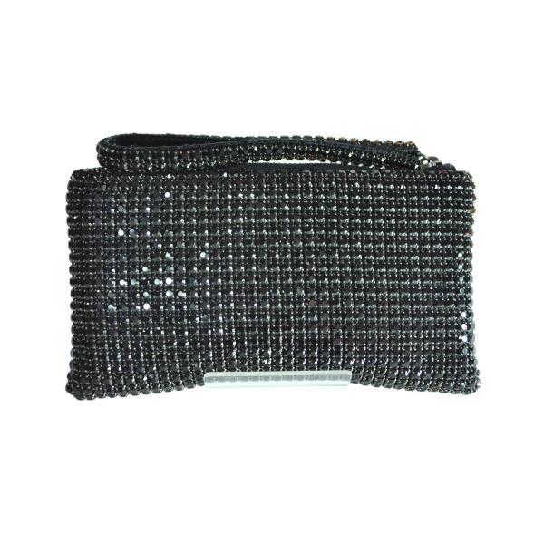 ガラスストーン ハンドストラップ クラッチバッグ パーティー ポーチ 財布 フォーマル ブラック 黒 Seduce|seduce|02
