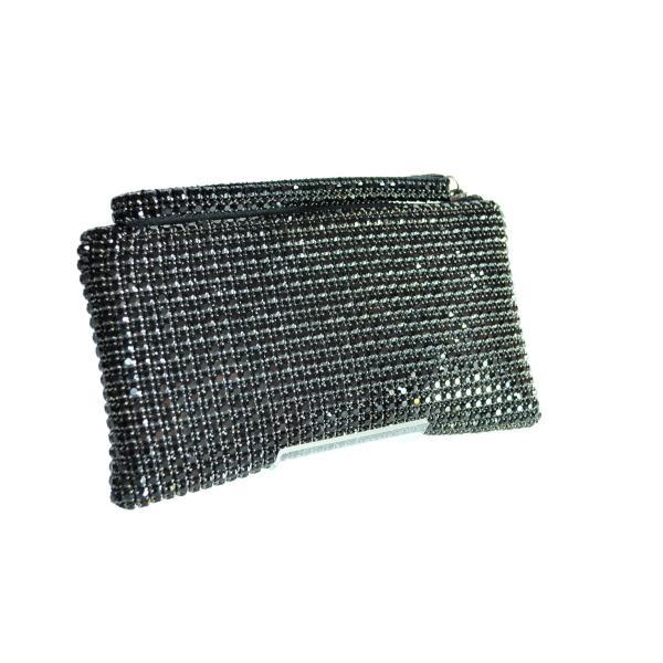 ガラスストーン ハンドストラップ クラッチバッグ パーティー ポーチ 財布 フォーマル ブラック 黒 Seduce|seduce|07