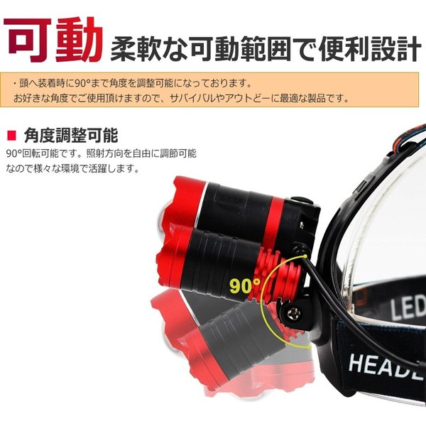 最大P25倍 LEDヘッドランプ LEDヘッドライト 充電式 レッド 防水 5000lm SOSフラッシュ機能CREE社T6 3200mAh×2|seedjapan|03