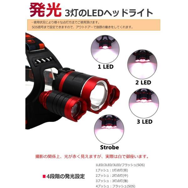 最大P25倍 LEDヘッドランプ LEDヘッドライト 充電式 レッド 防水 5000lm SOSフラッシュ機能CREE社T6 3200mAh×2|seedjapan|04