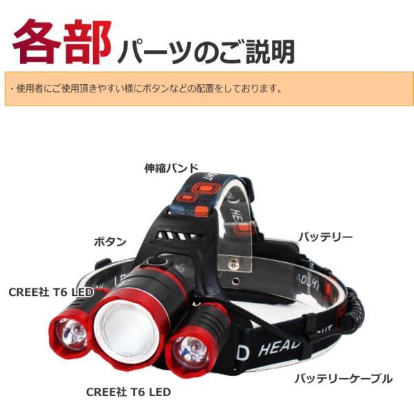 最大P25倍 LEDヘッドランプ LEDヘッドライト 充電式 レッド 防水 5000lm SOSフラッシュ機能CREE社T6 3200mAh×2|seedjapan|06