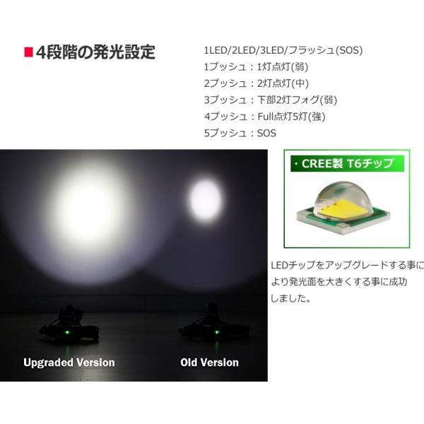 最大P25倍 LEDヘッドランプ LEDヘッドライト 防水 6000lm 5灯式 フォグランプ搭載モデル 釣り アウトドア 充電式 SOSフラッシュ機能CREE社T6|seedjapan|05