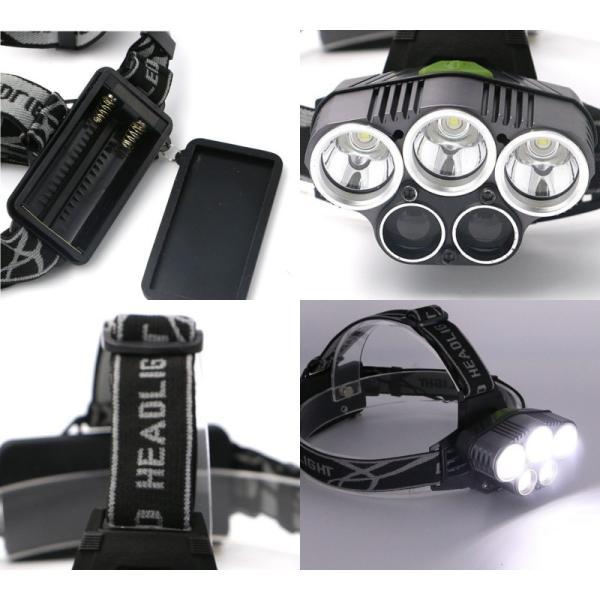 最大P25倍 LEDヘッドランプ LEDヘッドライト 防水 6000lm 5灯式 フォグランプ搭載モデル 釣り アウトドア 充電式 SOSフラッシュ機能CREE社T6|seedjapan|08