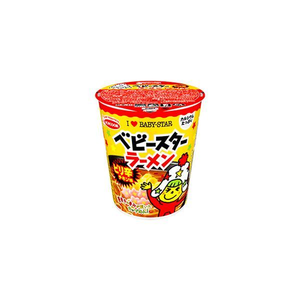 エースコック ベビースターラーメン カップめん ピリ辛チキン味 54g ×12個 /「ベビースターラーメン」とコラボ /かやくの唐辛子 /期間限定(2022年2月頃終了)