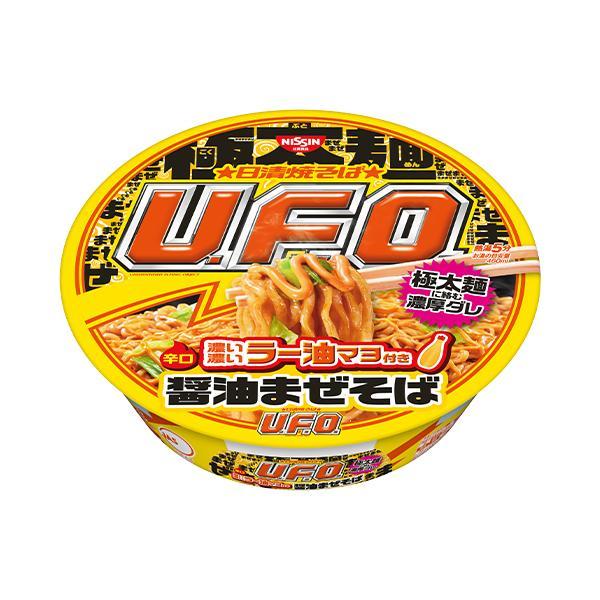 日清 日清焼そば UFO 濃い濃いラー油マヨ付き醤油まぜそば 112g×12個  極太ウェーブ麺 濃厚コク旨醤油ダレ