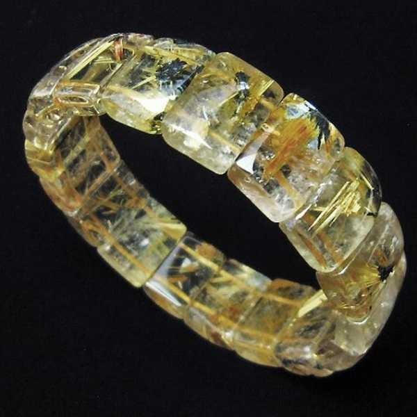ゴールドタイチンルチル バングル  パワーストーン 天然石 t107-3577