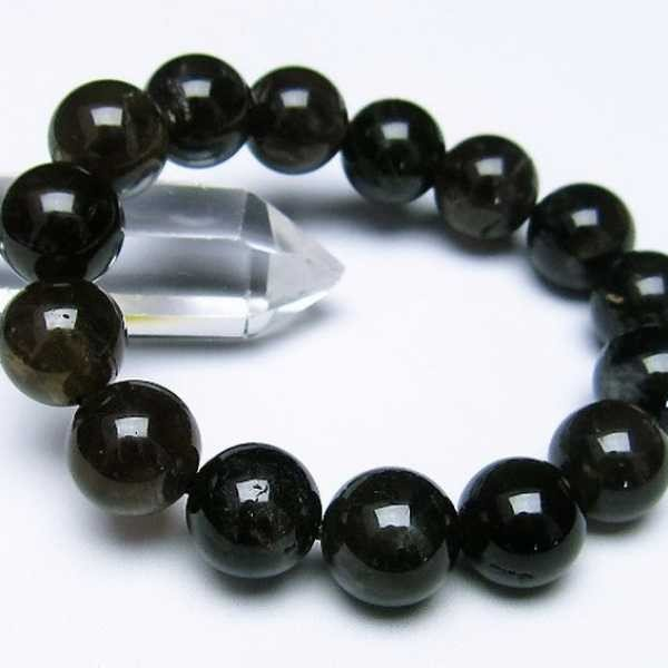 モリオン 純天然 黒水晶  ブレスレット 14mm  t112-2383