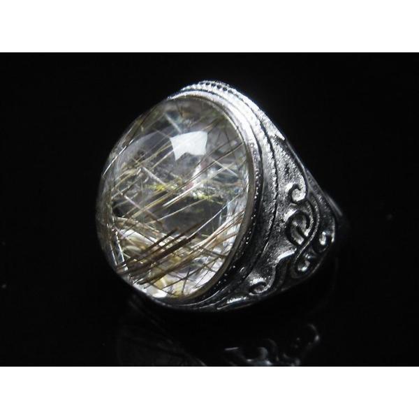 プラチナルチル入り水晶 指輪 (21号) t164-5074|seian|04