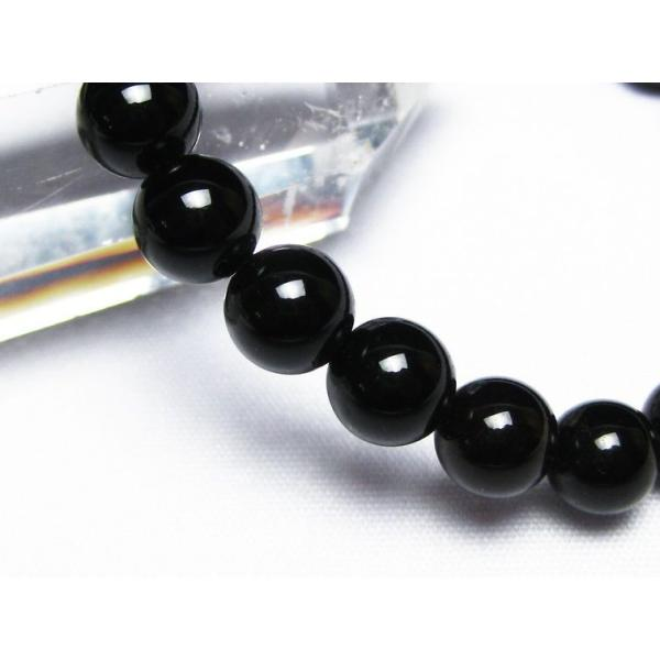 モリオン 純天然 黒水晶  ブレスレット 8mm  t33-9217