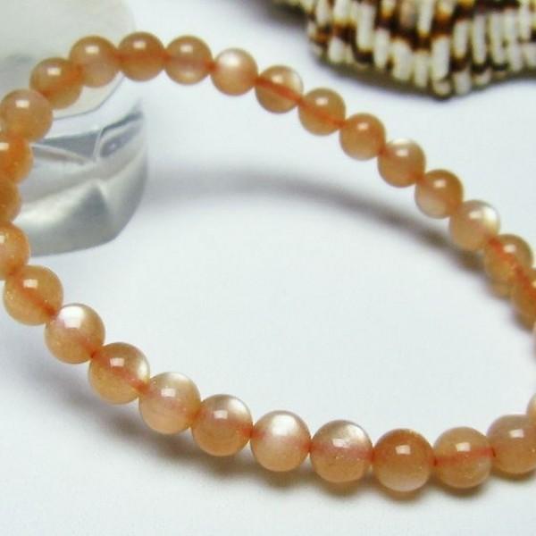 オレンジムーンストーン ブレスレット 6mm  t347-4311