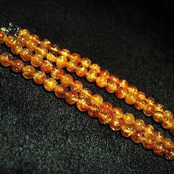 ファイナルグレードルチルクォーツ(金針ルチル水晶) ネックレス 5mm パワーストーン 天然石 t553-78