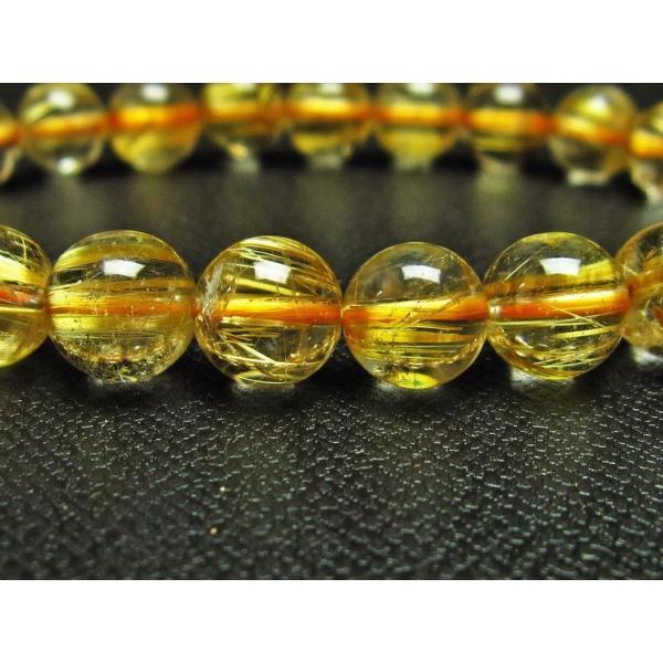 ゴールドタイチンルチル ブレスレット 9mm  t6-5300