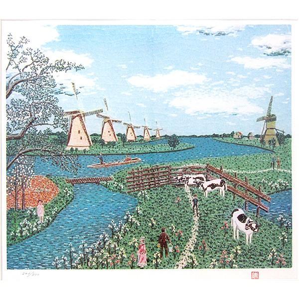 山下清 作品「オランダの牧場」リトグラフ 額付き 風景画 絵画 額外寸76x69.5センチ 裸の大将 ちぎり絵 ヨーロッパ 放浪 B4925|seibidou-surprise|02