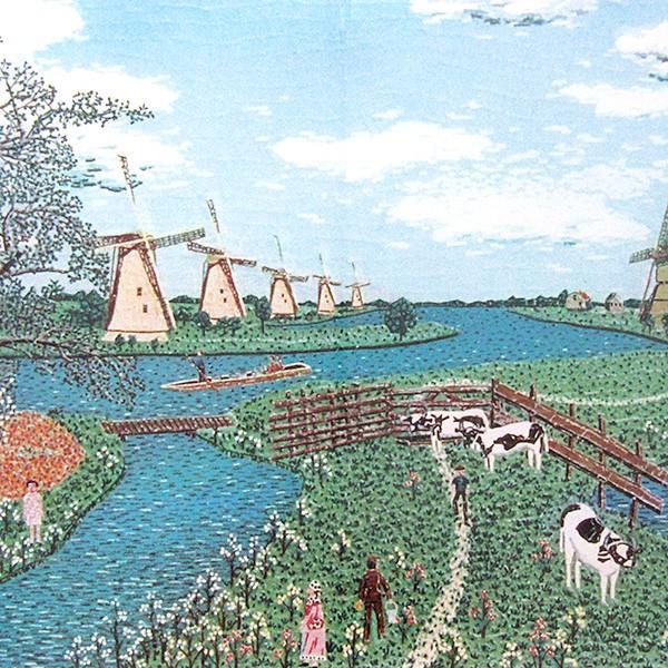 山下清 作品「オランダの牧場」リトグラフ 額付き 風景画 絵画 額外寸76x69.5センチ 裸の大将 ちぎり絵 ヨーロッパ 放浪 B4925|seibidou-surprise|07