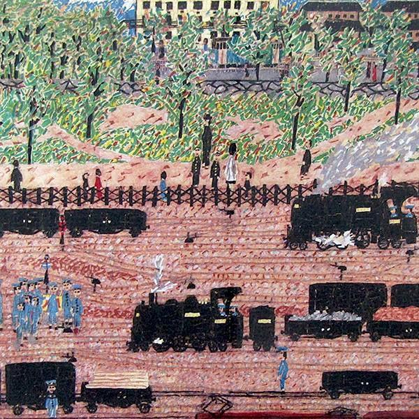山下清 作品「汽車」リトグラフ 額付き 風景画 絵画 額外寸70x56センチ 裸の大将 ちぎり絵 機関車 B4926|seibidou-surprise|03