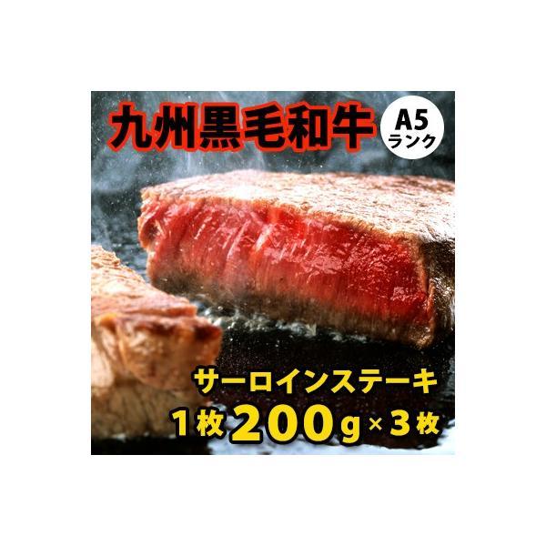九州黒毛和牛 A5ランク サーロインステーキ 1枚200g×3枚 【S】