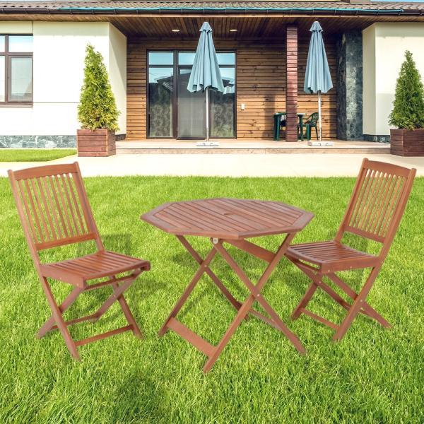 木製 フォールディングテーブル & チェア 3点セット | 天然木 アカシア材 八角 屋外 折りたたみ ベランダ ガーデン ガーデニング 庭 チェア 椅子 テーブル
