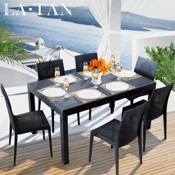 ガーデンテーブル90×150cm・チェア6脚セット LA・TAN | ベランダ ガーデン テーブル セット 屋外 テーブルセット 庭 プラスチック 椅子 ガーデンテーブルセット