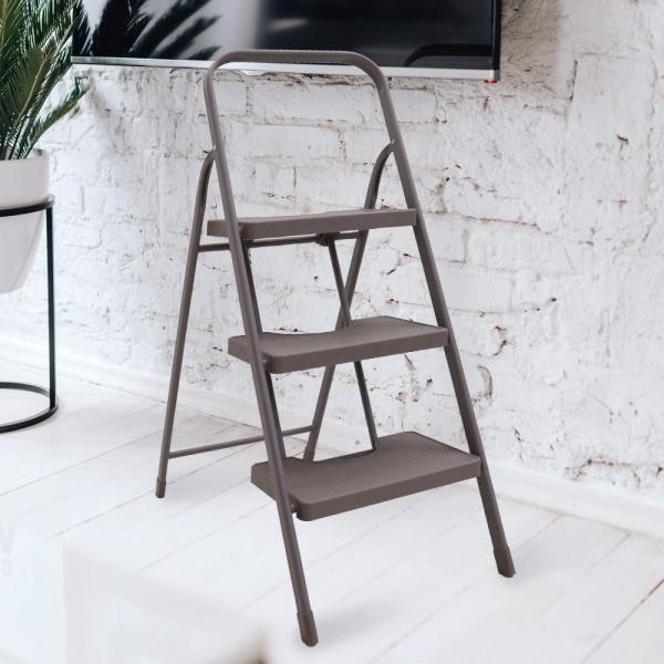 踏み台 脚立 折りたたみ 3段 ENICY ステップチェア   おしゃれ コンパクト スチール 折り畳み キッチン ブラック 椅子 インダストリアル ステップ 白 ホワイト seikatsukukan 02