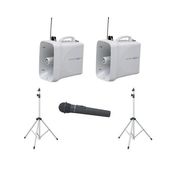 拡声器 60W PLL300MHz帯 選挙用スピーチセット TWB-300×2 ST-110×2 WM-3400