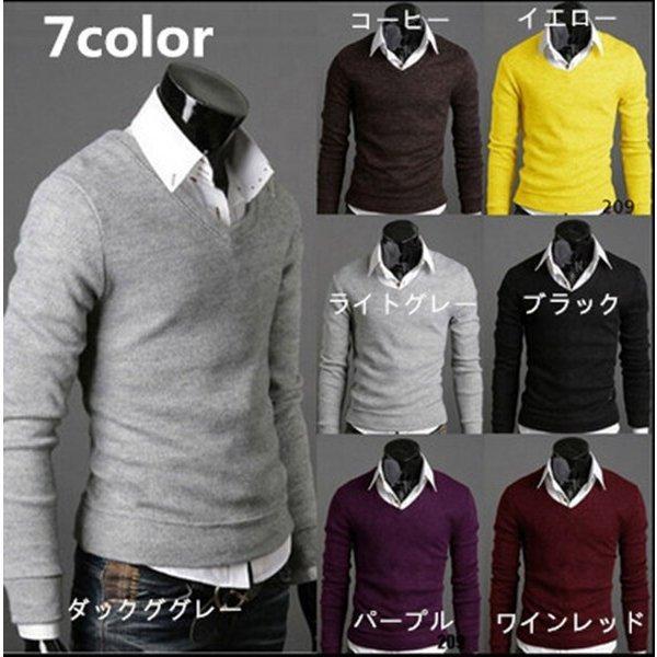 ゴルフウェアメンズセーターVネックニットファッションジップアップ部分ボタンデザイン7color