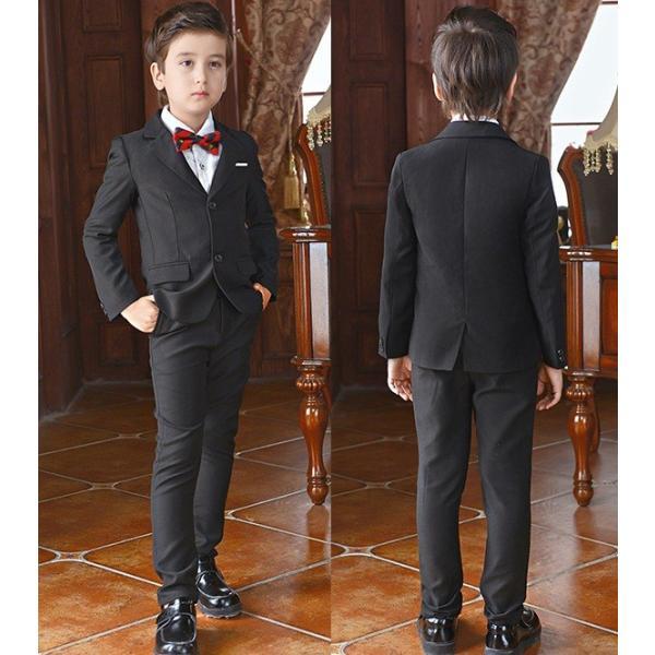 fa56e3f745a00 入学式 卒業式 上下4点セット スーツ格好いい 男の子 スーツ キッズ フォーマル ...