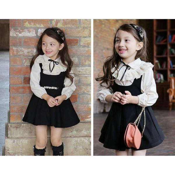 d1f8acb95b87e 2点セット 女の子 ドレス 韓国子供服 スーツ 卒園式 入学式 発表会 通園 ...
