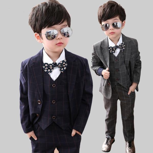 7fbff667b603e ジュニア 子供服 男の子 スーツ キッズ フォーマル  ベスト上下3点セット 子供スーツ ...