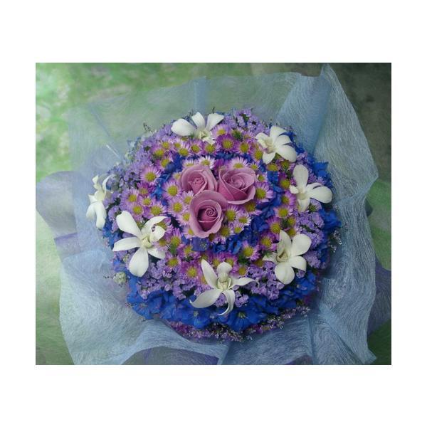 花ギフト フラワーケーキ ブルー紫系S
