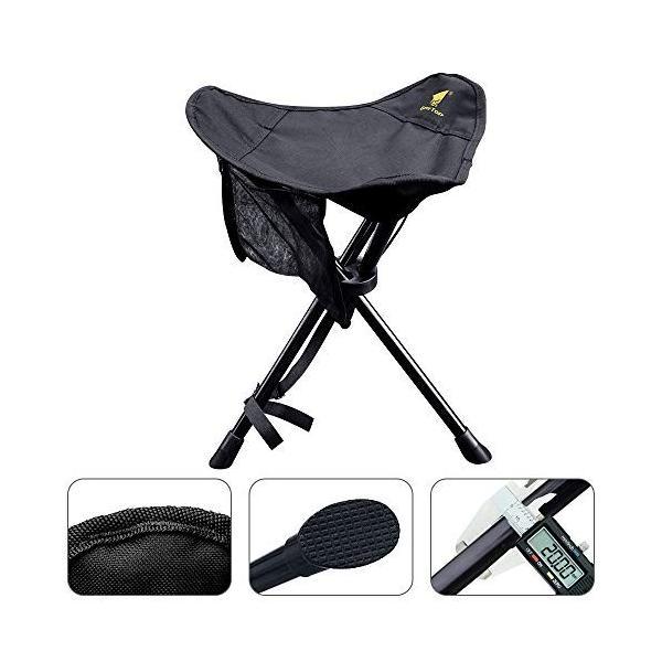 GEERTOP 折りたたみ 椅子 チェア 三脚 アウトドア キャンプ 釣り用 メッシュポケット付き スツール 超軽量 コンパクト